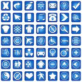 Blue Square Icons Set