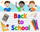 Schoolchildren Look Out From Behind A Large Notebook, Space For Text. Back To School. poster