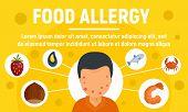 Food Allergy Concept Banner. Flat Illustration Of Food Allergy Vector Concept Banner For Web Design poster