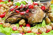 Pork ribs with mushrooms and salad
