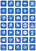 Blue Square Icon Set Part
