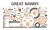 Great Nanny Banner. Outline Illustration Of Great Nanny Vector Banner For Web Design poster