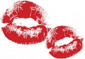 VECTOR - lipstick print (compound path - white areas of lips are transparent -over any background
