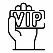Vip Card In Hand Icon. Outline Vip Card In Hand Vector Icon For Web Design Isolated On White Backgro poster