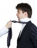 businessman screaming while a girl pulling his tie
