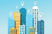 City Navigation Colorful Concept With Navigational Pins And Cityscape On Light Blue Background. Vect poster
