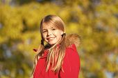Fall Fashion. Girl Smiling Face Cute Hairstyle Fashionable Fall Coat With Hood And Fur. Kid Girl Wea poster