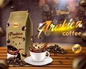 Arabica Coffee Banner, Paper, Foil Sachet Pouch Bag With Clip, Cup With Black Drink Splash, Coffee B poster