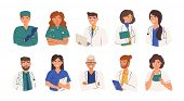 Bundle Of Friendly Doctors Wearing White Coats And Scurbs. Set Of Portraits Of Male And Female Medic poster