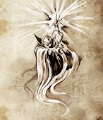 image of warlock  - Sketch of tatto art - JPG