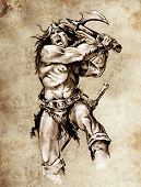 Sketch of tattoo art, warrior fighting with big axe