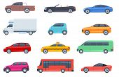 Flat Cars Set. Taxi And Minivan, Cabriolet And Pickup. Bus And Suv, Truck. Urban, City Cars And Vehi poster