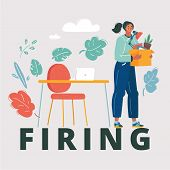 Cartoon Vector Illustration Of Firing Employee. Dismissed Frustrated Carrying Box With Her Things. U poster