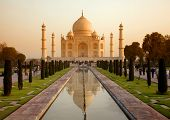 stock photo of mausoleum  - White marble Taj Mahal in India - JPG