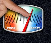 Credit Score Concept As A Person Changing The Arrow For An Improved Financial Performance Rating Wit poster