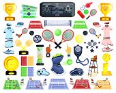 Tennis Sport Set. Flat Cartoons Vector Illustration Icon. Isolated On White. Tennis Gear. Tennis Equ poster