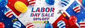 Labor Day Sale Poster Template.usa Labor Day Celebration With American Balloons Flag.sale Promotion  poster