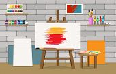 Art Studio Interior. Painter Studio Room With Easel And Paint Art Equipment, Studios Design For Prof poster