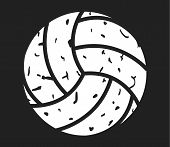 Volleyball Distressed Icon On Black Background. Flat Style. Volleyball Sign For Your Web Site Design poster