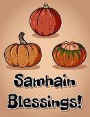 Samhain Blessings Fall Pagan Holiday Pumpkins Postcard. Autumn Halloween Harvest Celebration Flyer poster