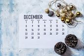 December 2019 Monthly Calendar With Christmas Decoration. Festive Decor Elements poster