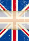 UK torn flag. A dirty british flag with a large transparent frame for your message.