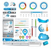Infographic elements - set of paper tags, technology icons, cloud cmputing, graphs, paper tags, arro