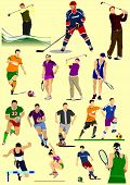 Few Kinds Of Sport Games. Football, Ice Hockey, Tennis, Soccer, Golf, Rugby.vector Illustration