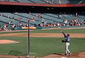 Padres Coach Bud Black Throws Pitch