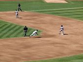 A's Coco Crisp Runs Towards Second Base As He Attemps To Steal The Base