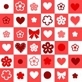 Checkered red and white seamless background with hearts and flowers, vector