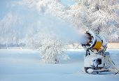 image of cannon  - Working snow cannon on beautiful winter day - JPG