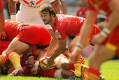 BARCELONA - SEPT, 15: Florian Cazenave of USAP Perpignan in action during the French rugby league ma