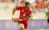 BARCELONA - SEPT, 15: Luke Narraway of USAP Perpignan in action during the French rugby union league