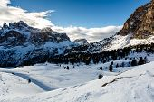 Snowy Mountains On The Skiing Resort Of Colfosco, Alta Badia, Dolomites Alps, Italy