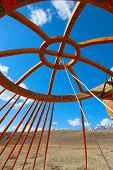 foto of yurt  - installation of traditional Mongolian dwelling - Yurts ** Note: Visible grain at 100%, best at smaller sizes - JPG