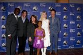 SANTA BARBARA - JAN 29: Omar Sy, Ezra Miller, Ann Dowd, Quvenzhane Wallis, Elle Fanning, Eddie Redmayne arrives at the Virtuosos Award at Arlington Theater on January 29, 2013 in Santa Barbara, CA