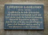 stock photo of devonshire  - Sign outside Old Cambridge Cavendish Science Laboroatory - JPG