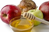 Round Challah, Apples And A Bowl Of Honey