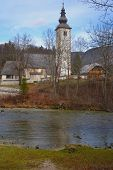 Rural church and river