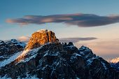 Sassongher Peak On The Ski Resort Of Corvara, Alta Badia, Dolomites Alps, Italy