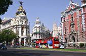 Metropolis building situated on Gran Via street in Madrid, Spain