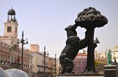 The statue of bear and strawberry tree in Madrid, Spain