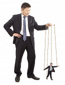 Puppeteer. Authority General Manager. Concept  on white background