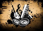 image of wacky  - cool wacky grunge Music background with music details - JPG