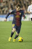 VALENCIA - FEBRUARY 3: Leo Messi during Spanish League match between Valencia CF and FC Barcelona, o