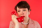 image of bereavement  - Woman crying while having a sad phone call - JPG
