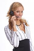 Blonde service desk agent with headset