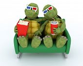 picture of carapace  - 3D render of a tortoises watching a 3D Movie - JPG