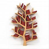 Árvore do conhecimento. Estante no fundo branco. 3D